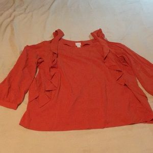 Chico's Size 3 Cold Shoulder Ruffle Orange Top NWT